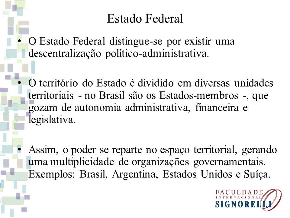 Estado Federal O Estado Federal distingue-se por existir uma descentralização político-administrativa. O território do Estado é dividido em diversas u