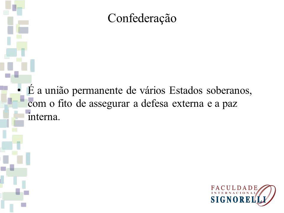 Confederação É a união permanente de vários Estados soberanos, com o fito de assegurar a defesa externa e a paz interna.