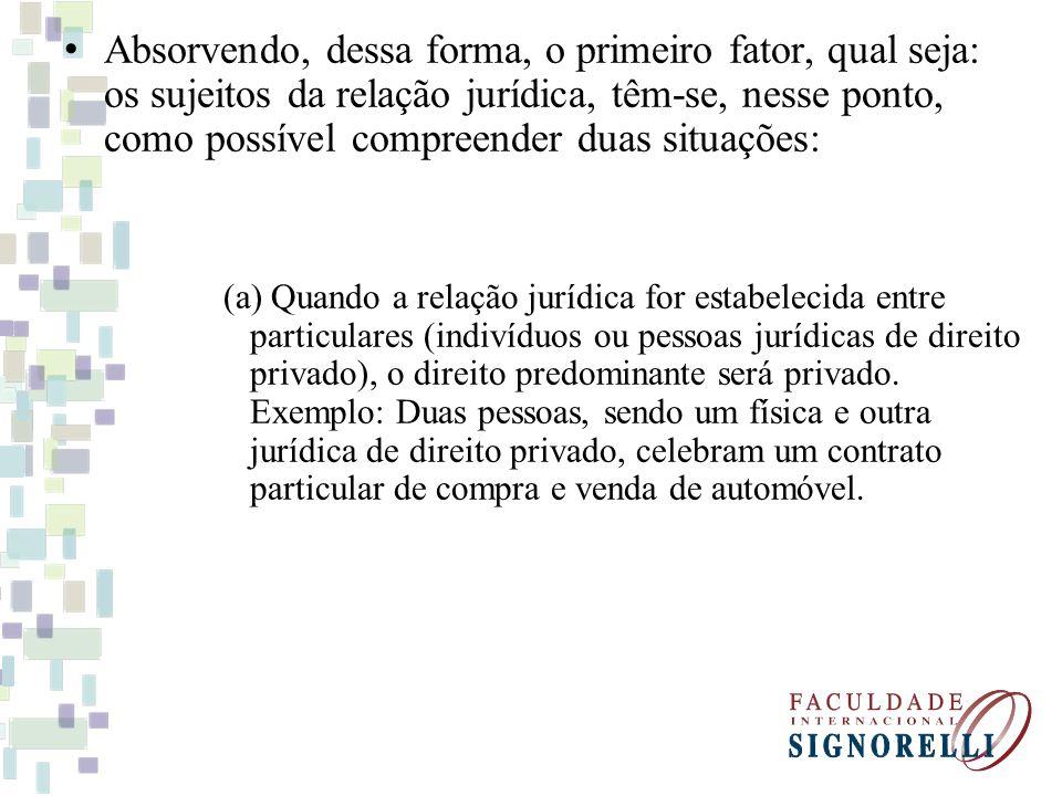 Absorvendo, dessa forma, o primeiro fator, qual seja: os sujeitos da relação jurídica, têm-se, nesse ponto, como possível compreender duas situações: