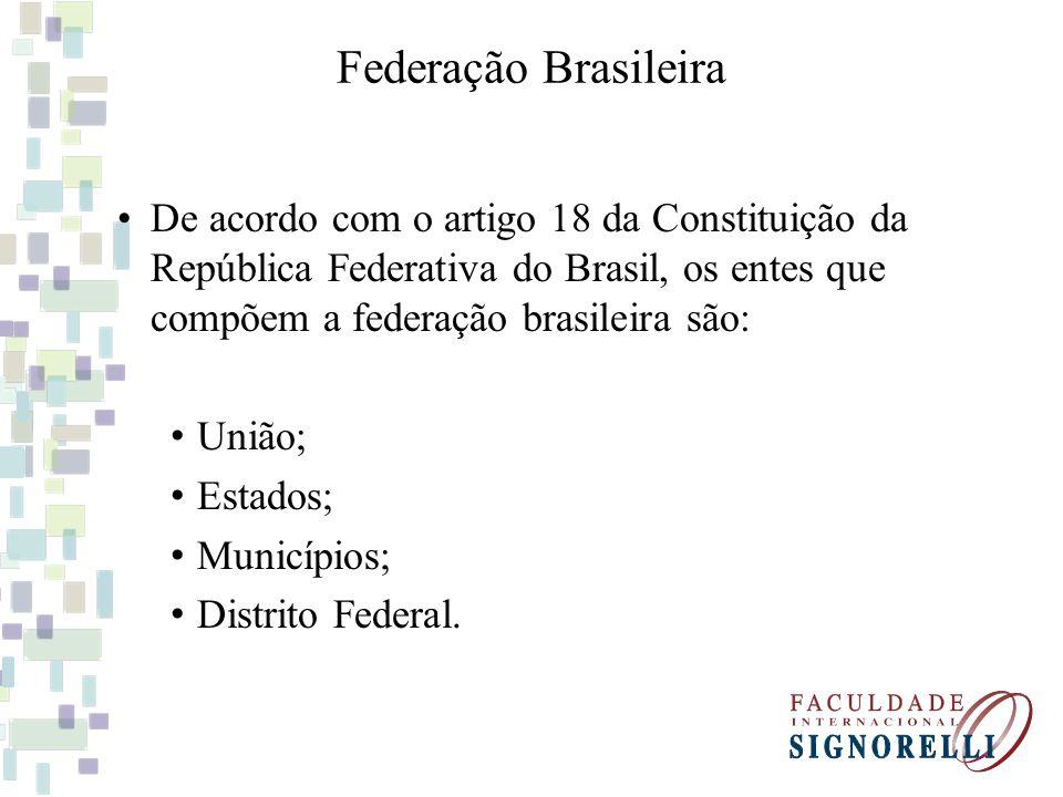 Federação Brasileira De acordo com o artigo 18 da Constituição da República Federativa do Brasil, os entes que compõem a federação brasileira são: Uni