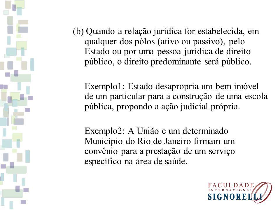 (b) Quando a relação jurídica for estabelecida, em qualquer dos pólos (ativo ou passivo), pelo Estado ou por uma pessoa jurídica de direito público, o