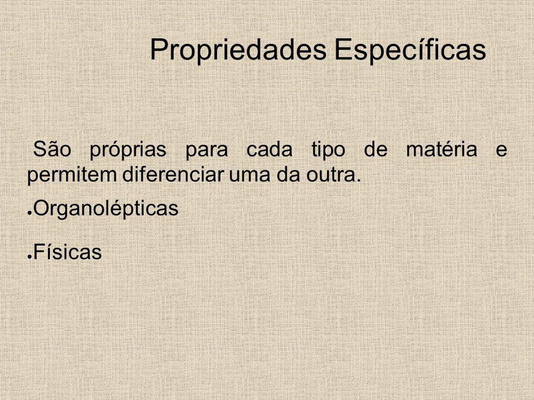 Propriedades Específicas São próprias para cada tipo de matéria e permitem diferenciar uma da outra. Organolépticas Físicas