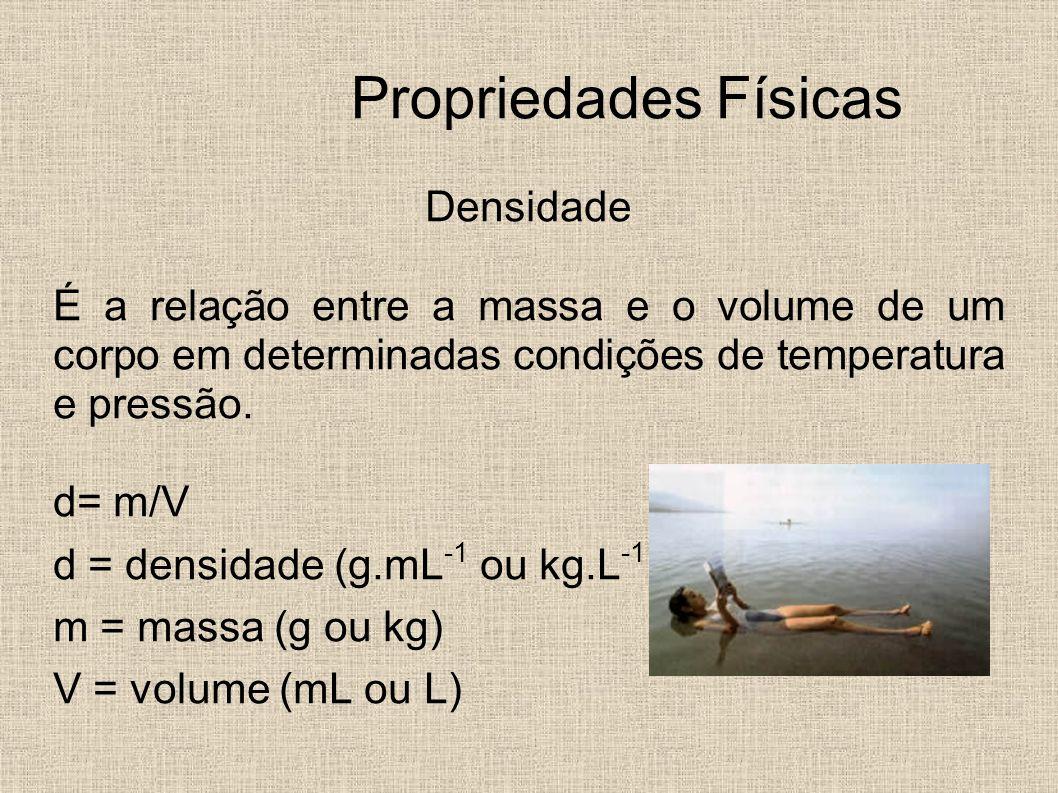 Propriedades Físicas Densidade É a relação entre a massa e o volume de um corpo em determinadas condições de temperatura e pressão. d= m/V d = densida