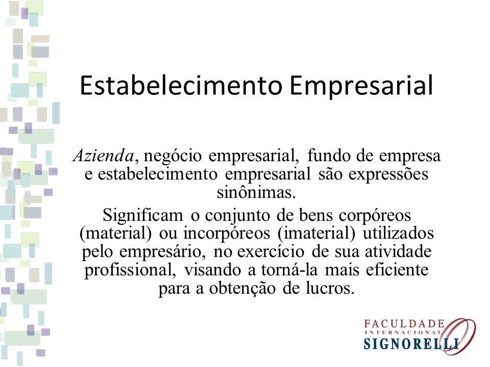 Estabelecimento Empresarial Azienda, negócio empresarial, fundo de empresa e estabelecimento empresarial são expressões sinônimas. Significam o conjun