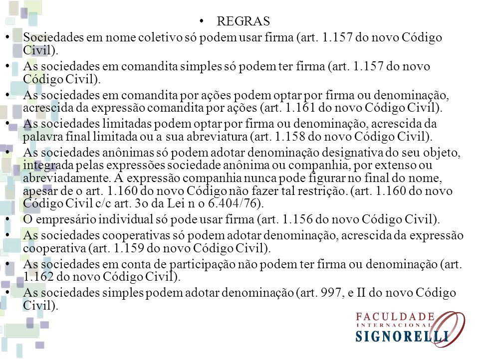 REGRAS Sociedades em nome coletivo só podem usar firma (art. 1.157 do novo Código Civil). As sociedades em comandita simples só podem ter firma (art.