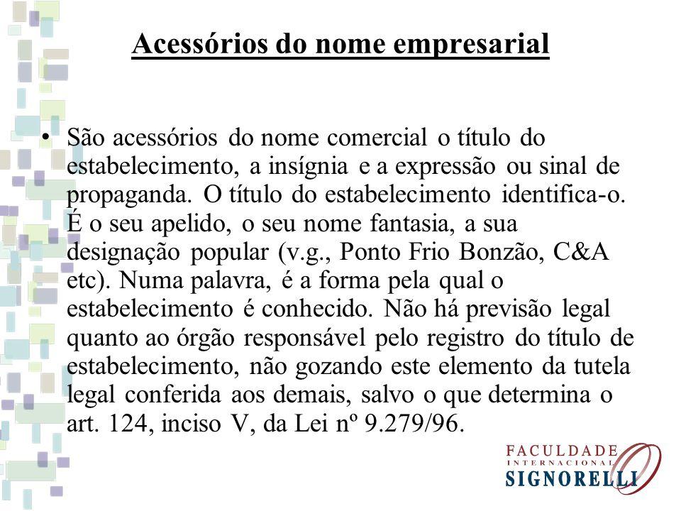 Acessórios do nome empresarial São acessórios do nome comercial o título do estabelecimento, a insígnia e a expressão ou sinal de propaganda. O título