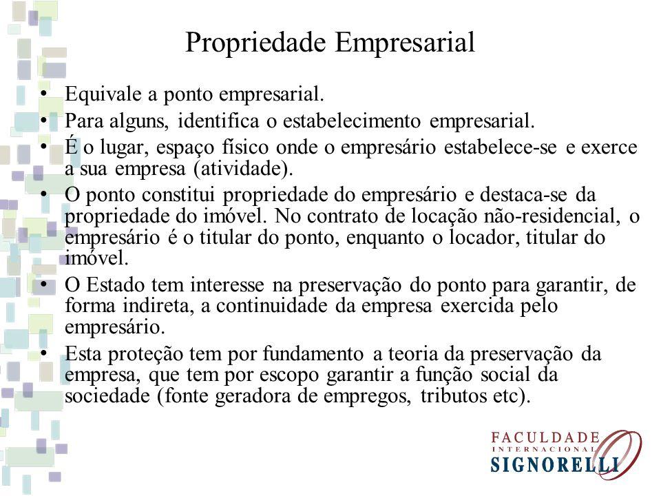 Propriedade Empresarial Equivale a ponto empresarial. Para alguns, identifica o estabelecimento empresarial. É o lugar, espaço físico onde o empresári