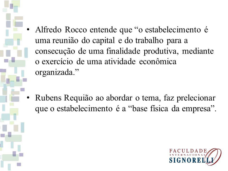Alfredo Rocco entende que o estabelecimento é uma reunião do capital e do trabalho para a consecução de uma finalidade produtiva, mediante o exercício