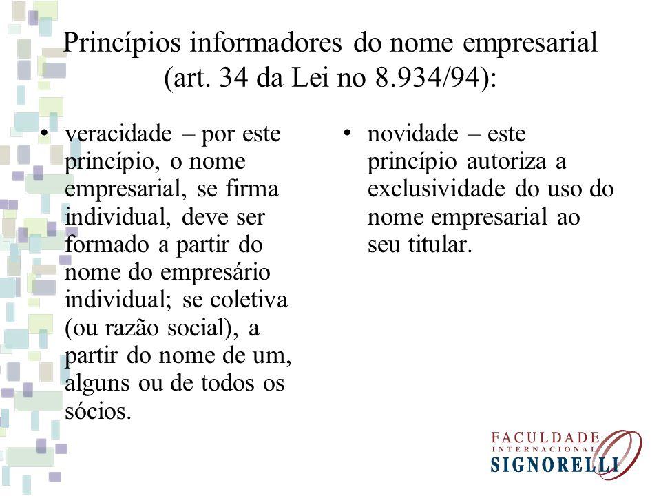 Princípios informadores do nome empresarial (art. 34 da Lei no 8.934/94): veracidade – por este princípio, o nome empresarial, se firma individual, de