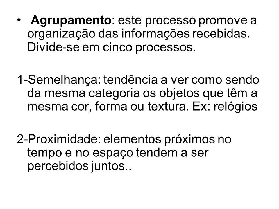 Agrupamento: este processo promove a organização das informações recebidas. Divide-se em cinco processos. 1-Semelhança: tendência a ver como sendo da