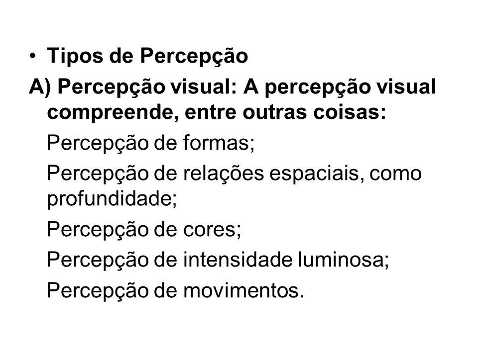 Tipos de Percepção A) Percepção visual: A percepção visual compreende, entre outras coisas: Percepção de formas; Percepção de relações espaciais, como