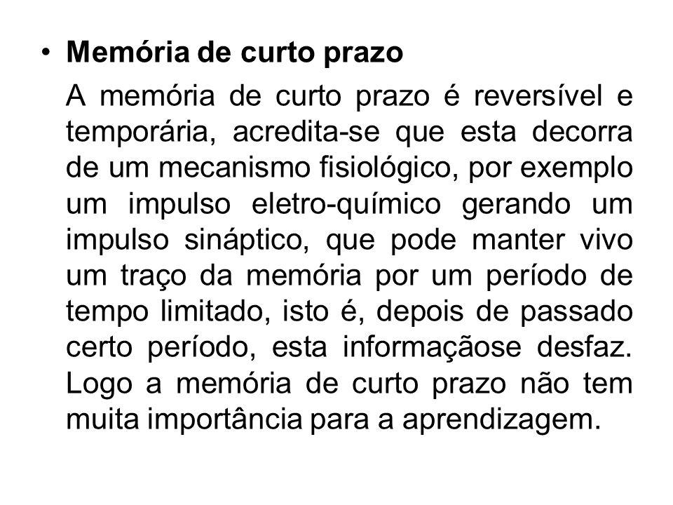 Memória de curto prazo A memória de curto prazo é reversível e temporária, acredita-se que esta decorra de um mecanismo fisiológico, por exemplo um im