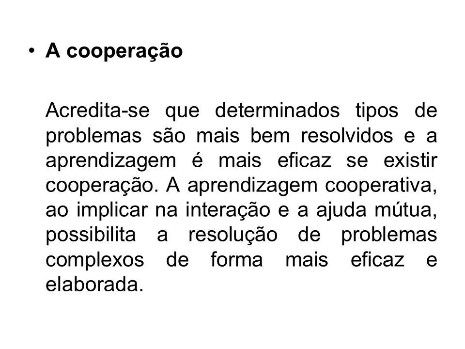 A cooperação Acredita-se que determinados tipos de problemas são mais bem resolvidos e a aprendizagem é mais eficaz se existir cooperação. A aprendiza