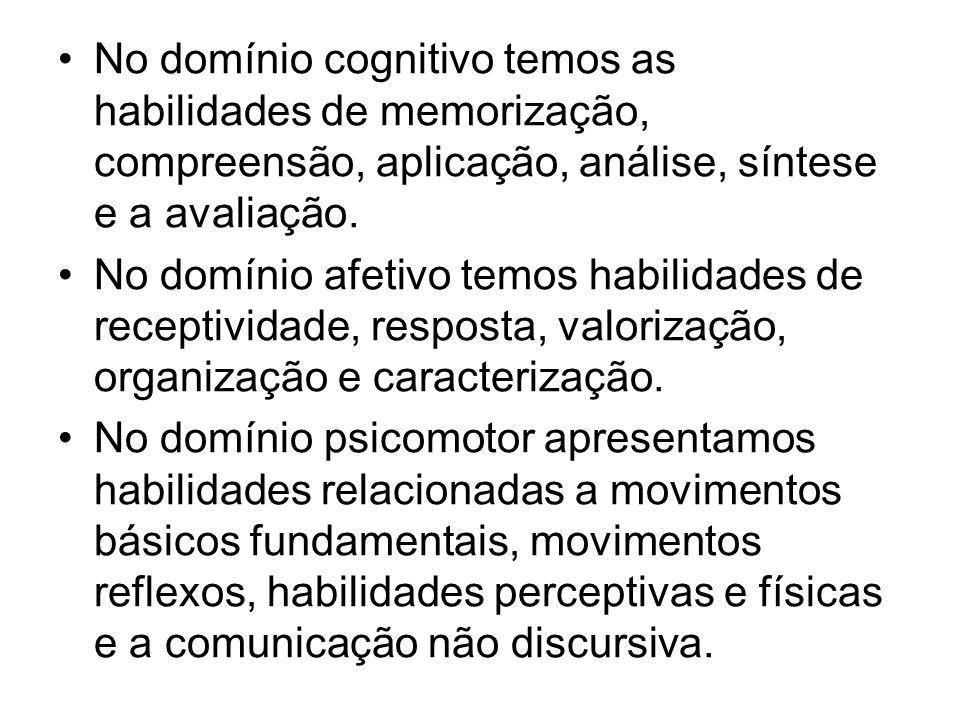No domínio cognitivo temos as habilidades de memorização, compreensão, aplicação, análise, síntese e a avaliação. No domínio afetivo temos habilidades