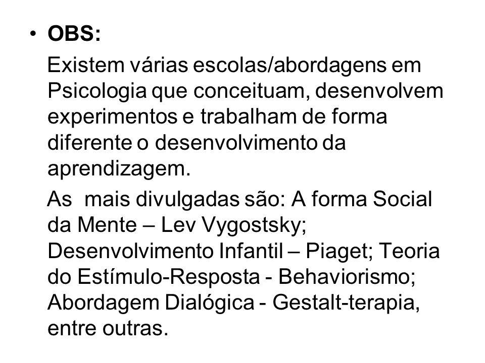 OBS: Existem várias escolas/abordagens em Psicologia que conceituam, desenvolvem experimentos e trabalham de forma diferente o desenvolvimento da apre