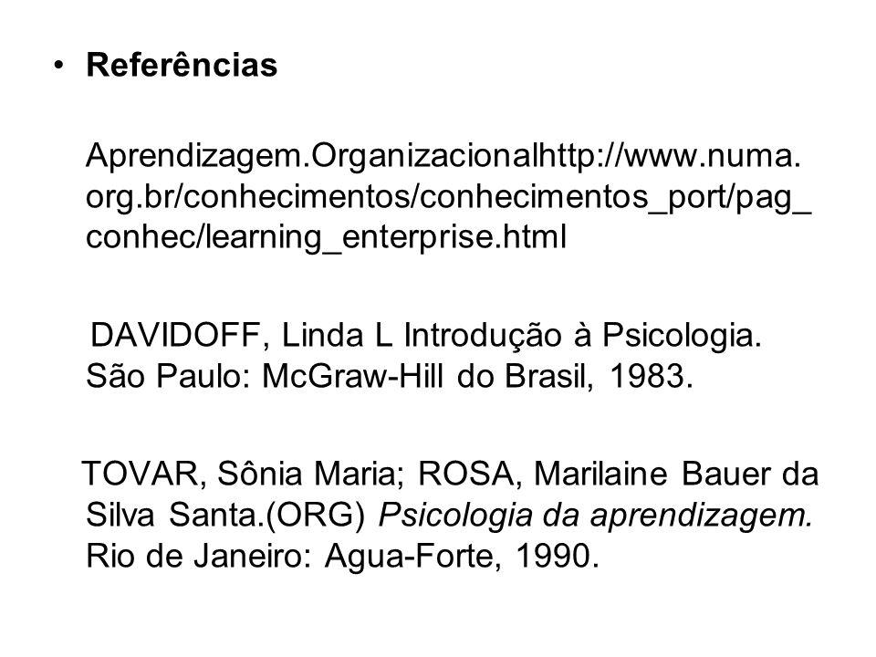 Referências Aprendizagem.Organizacionalhttp://www.numa. org.br/conhecimentos/conhecimentos_port/pag_ conhec/learning_enterprise.html DAVIDOFF, Linda L