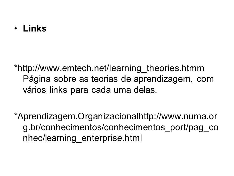 Links *http://www.emtech.net/learning_theories.htmm Página sobre as teorias de aprendizagem, com vários links para cada uma delas. *Aprendizagem.Organ