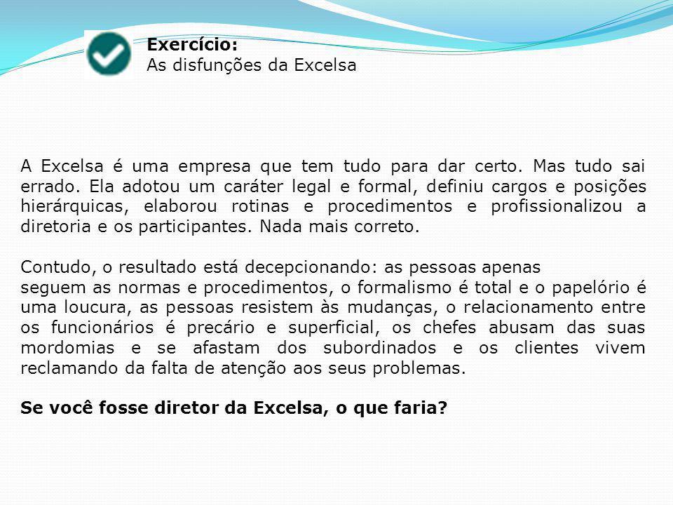 Exercício: As disfunções da Excelsa A Excelsa é uma empresa que tem tudo para dar certo.