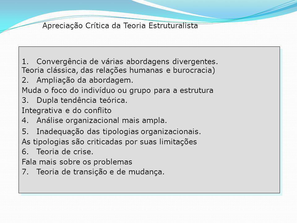Apreciação Crítica da Teoria Estruturalista 1.Convergência de várias abordagens divergentes.