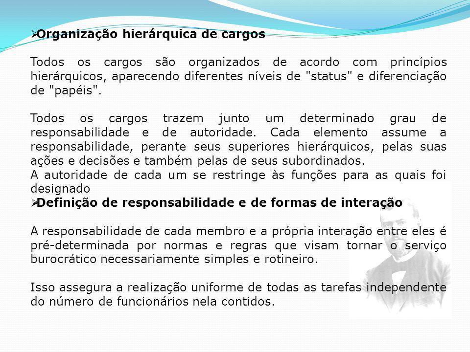 Organização hierárquica de cargos Todos os cargos são organizados de acordo com princípios hierárquicos, aparecendo diferentes níveis de status e diferenciação de papéis .