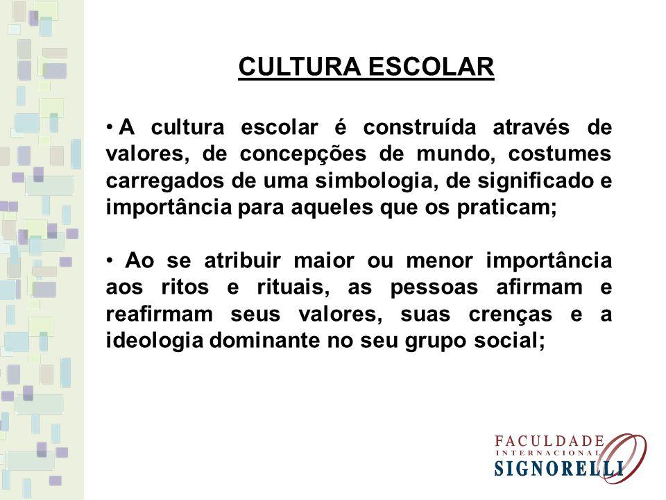 CULTURA ESCOLAR A cultura escolar é construída através de valores, de concepções de mundo, costumes carregados de uma simbologia, de significado e imp