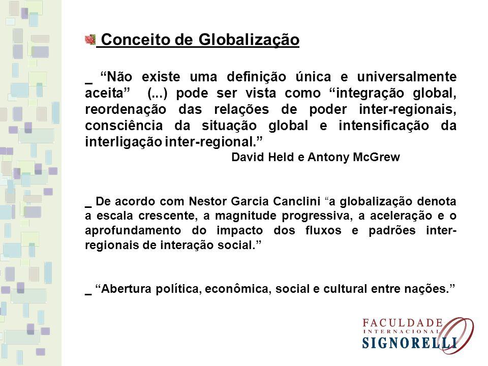 Conceito de Globalização Não existe uma definição única e universalmente aceita (...) pode ser vista como integração global, reordenação das relações de poder inter-regionais, consciência da situação global e intensificação da interligação inter-regional.