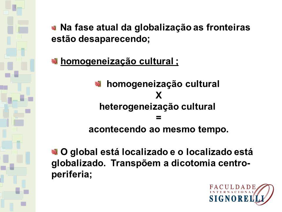 Na fase atual da globalização as fronteiras estão desaparecendo; homogeneização cultural ; homogeneização cultural X heterogeneização cultural = acontecendo ao mesmo tempo.