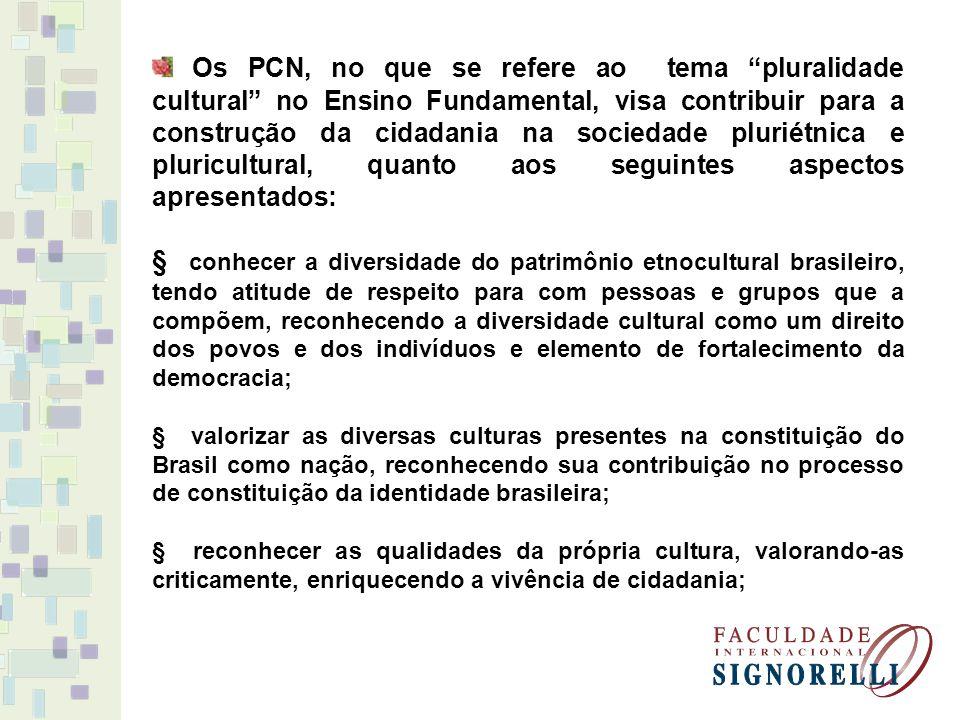 Os PCN, no que se refere ao tema pluralidade cultural no Ensino Fundamental, visa contribuir para a construção da cidadania na sociedade pluriétnica e