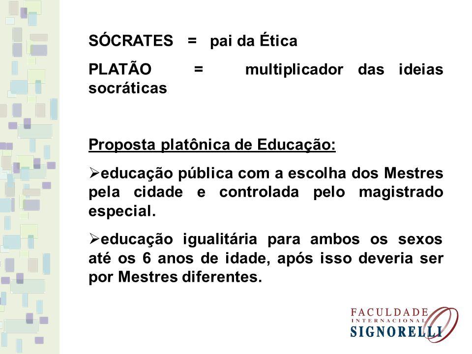 SÓCRATES = pai da Ética PLATÃO = multiplicador das ideias socráticas Proposta platônica de Educação: educação pública com a escolha dos Mestres pela cidade e controlada pelo magistrado especial.