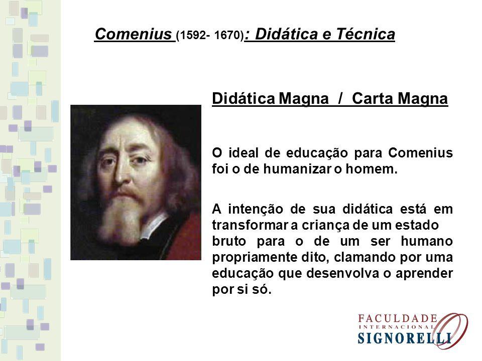 Comenius (1592- 1670) : Didática e Técnica Didática Magna / Carta Magna O ideal de educação para Comenius foi o de humanizar o homem.