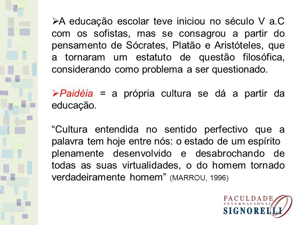 A educação escolar teve iniciou no século V a.C com os sofistas, mas se consagrou a partir do pensamento de Sócrates, Platão e Aristóteles, que a tornaram um estatuto de questão filosófica, considerando como problema a ser questionado.