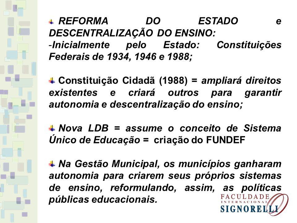 LDB 9394/96 = traz a definição de competências municipais: formulação das suas Leis Orgânicas (Los); elaboração dos Planos Municipais de Educação (PMEs); constituição de seus Conselhos de Educação; constituição do Conselho de Acompanhamento e Controle Social.
