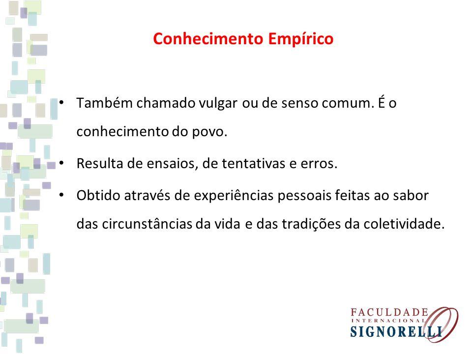 Conhecimento Empírico Também chamado vulgar ou de senso comum.
