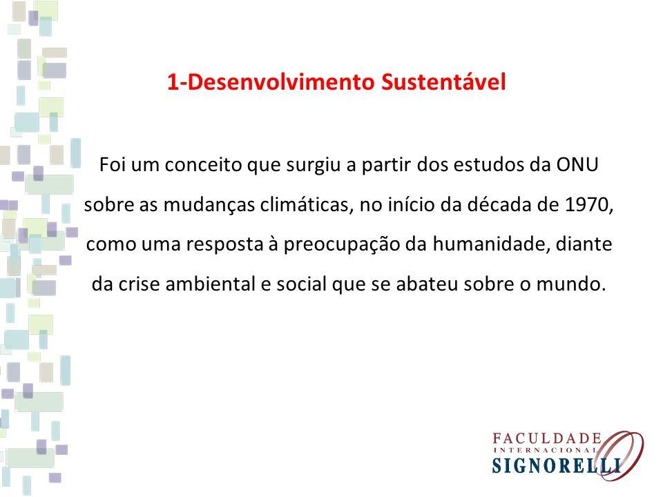 1-Desenvolvimento Sustentável Foi um conceito que surgiu a partir dos estudos da ONU sobre as mudanças climáticas, no início da década de 1970, como uma resposta à preocupação da humanidade, diante da crise ambiental e social que se abateu sobre o mundo.
