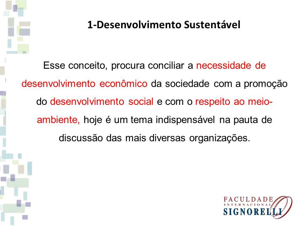 Esse conceito, procura conciliar a necessidade de desenvolvimento econômico da sociedade com a promoção do desenvolvimento social e com o respeito ao