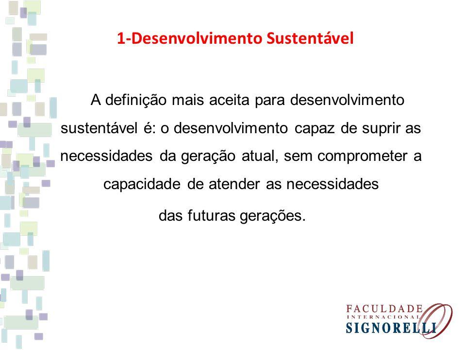 A definição mais aceita para desenvolvimento sustentável é: o desenvolvimento capaz de suprir as necessidades da geração atual, sem comprometer a capacidade de atender as necessidades das futuras gerações.