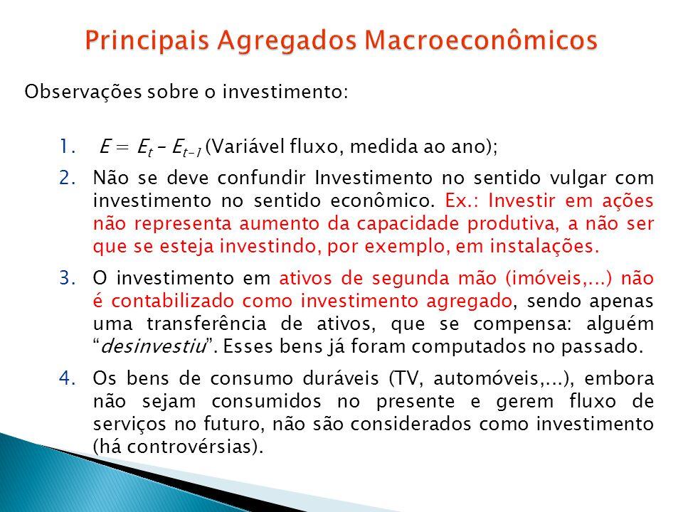 Observações sobre o investimento: 1. E = E t – E t-1 (Variável fluxo, medida ao ano); 2.Não se deve confundir Investimento no sentido vulgar com inves