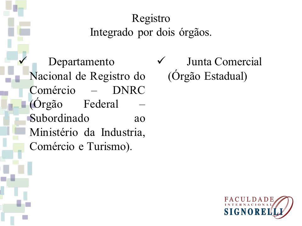 Registro Integrado por dois órgãos.