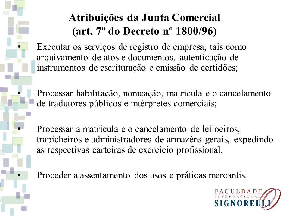 Atribuições da Junta Comercial (art.