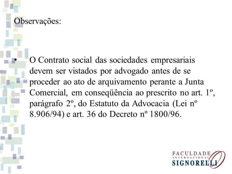 Observações: O Contrato social das sociedades empresariais devem ser vistados por advogado antes de se proceder ao ato de arquivamento perante a Junta Comercial, em conseqüência ao prescrito no art.