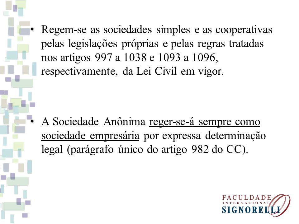 Regem-se as sociedades simples e as cooperativas pelas legislações próprias e pelas regras tratadas nos artigos 997 a 1038 e 1093 a 1096, respectivamente, da Lei Civil em vigor.