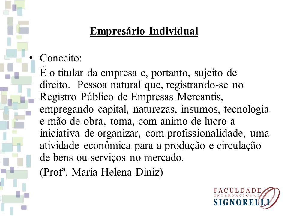 Empresário Individual Conceito: É o titular da empresa e, portanto, sujeito de direito.