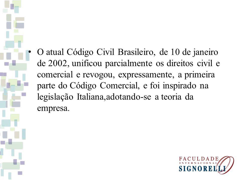 O atual Código Civil Brasileiro, de 10 de janeiro de 2002, unificou parcialmente os direitos civil e comercial e revogou, expressamente, a primeira pa