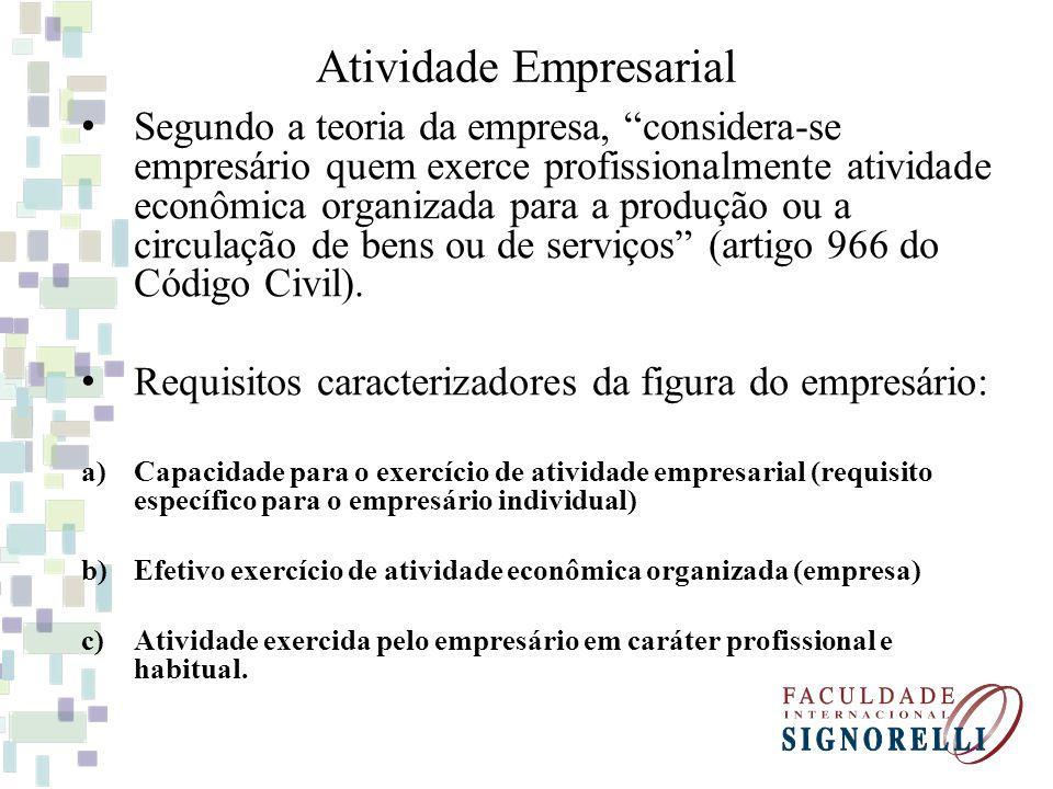 Segundo a teoria da empresa, considera-se empresário quem exerce profissionalmente atividade econômica organizada para a produção ou a circulação de b