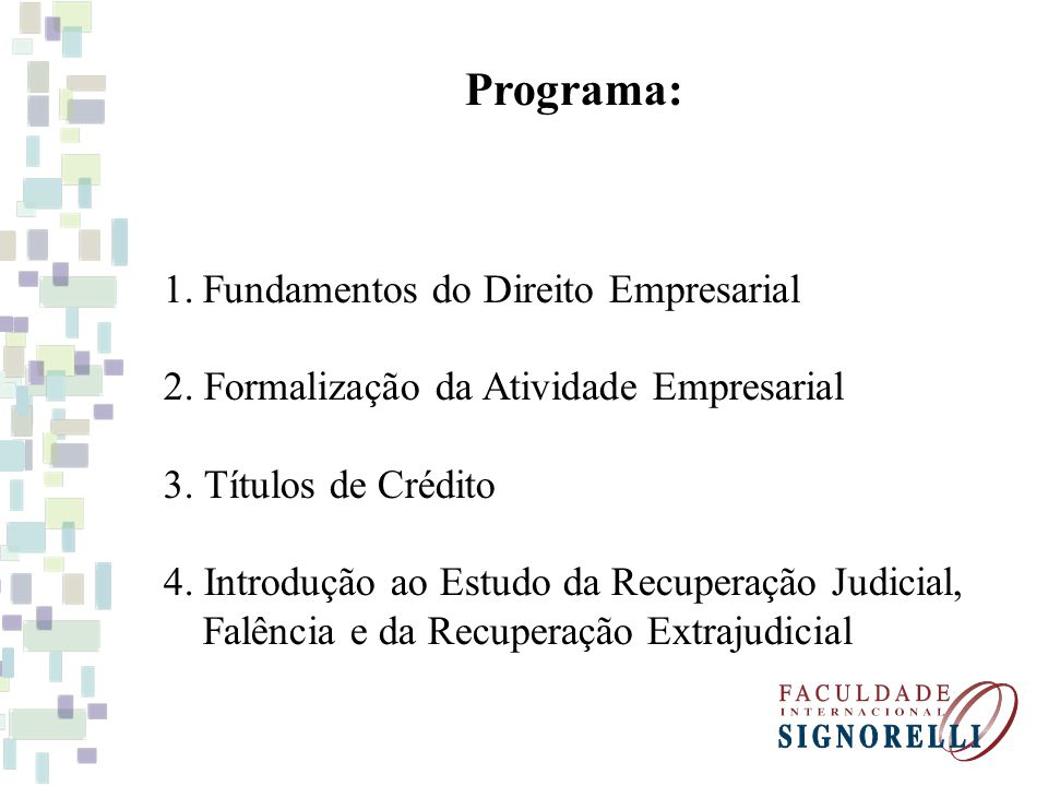 Bibliografia Básica: MAZZAFERA, Luiz B.Curso Básico de Direito Empresarial.