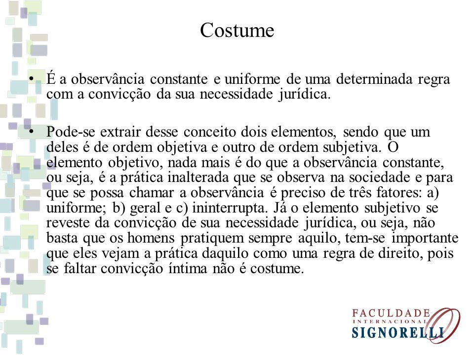 Costume É a observância constante e uniforme de uma determinada regra com a convicção da sua necessidade jurídica. Pode-se extrair desse conceito dois