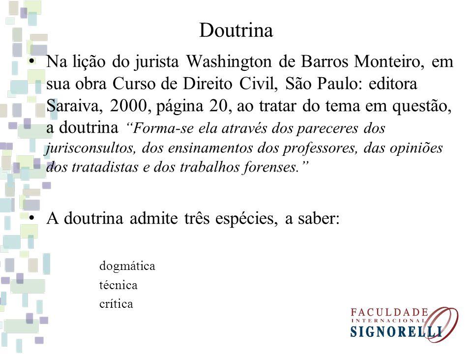 Doutrina Na lição do jurista Washington de Barros Monteiro, em sua obra Curso de Direito Civil, São Paulo: editora Saraiva, 2000, página 20, ao tratar