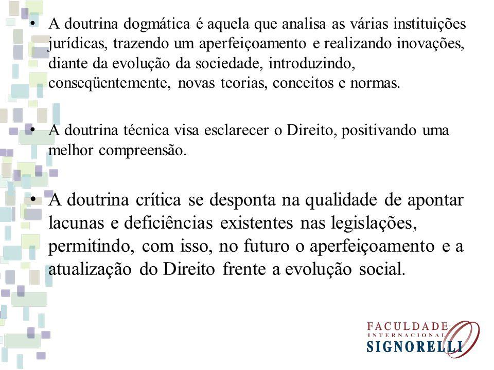 A doutrina dogmática é aquela que analisa as várias instituições jurídicas, trazendo um aperfeiçoamento e realizando inovações, diante da evolução da