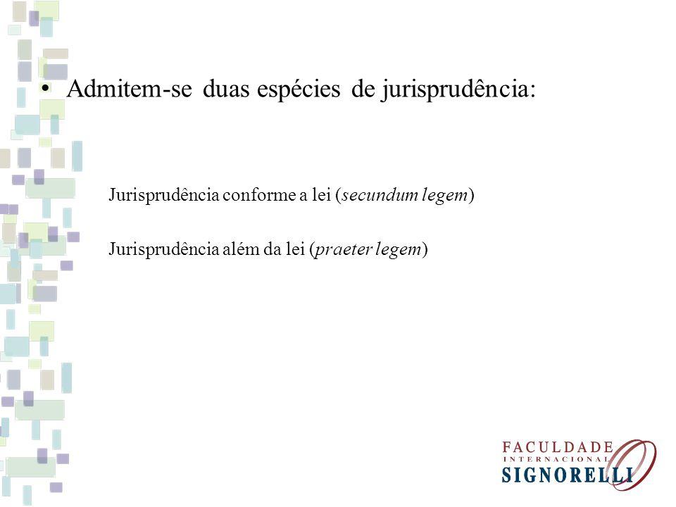 Admitem-se duas espécies de jurisprudência: Jurisprudência conforme a lei (secundum legem) Jurisprudência além da lei (praeter legem)