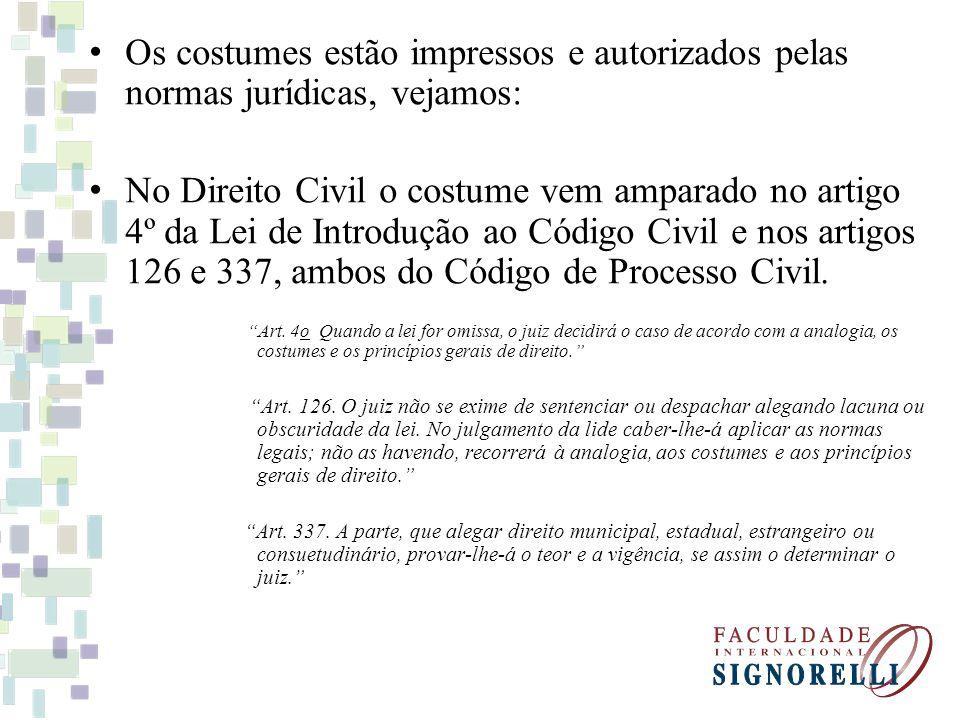 Os costumes estão impressos e autorizados pelas normas jurídicas, vejamos: No Direito Civil o costume vem amparado no artigo 4º da Lei de Introdução a